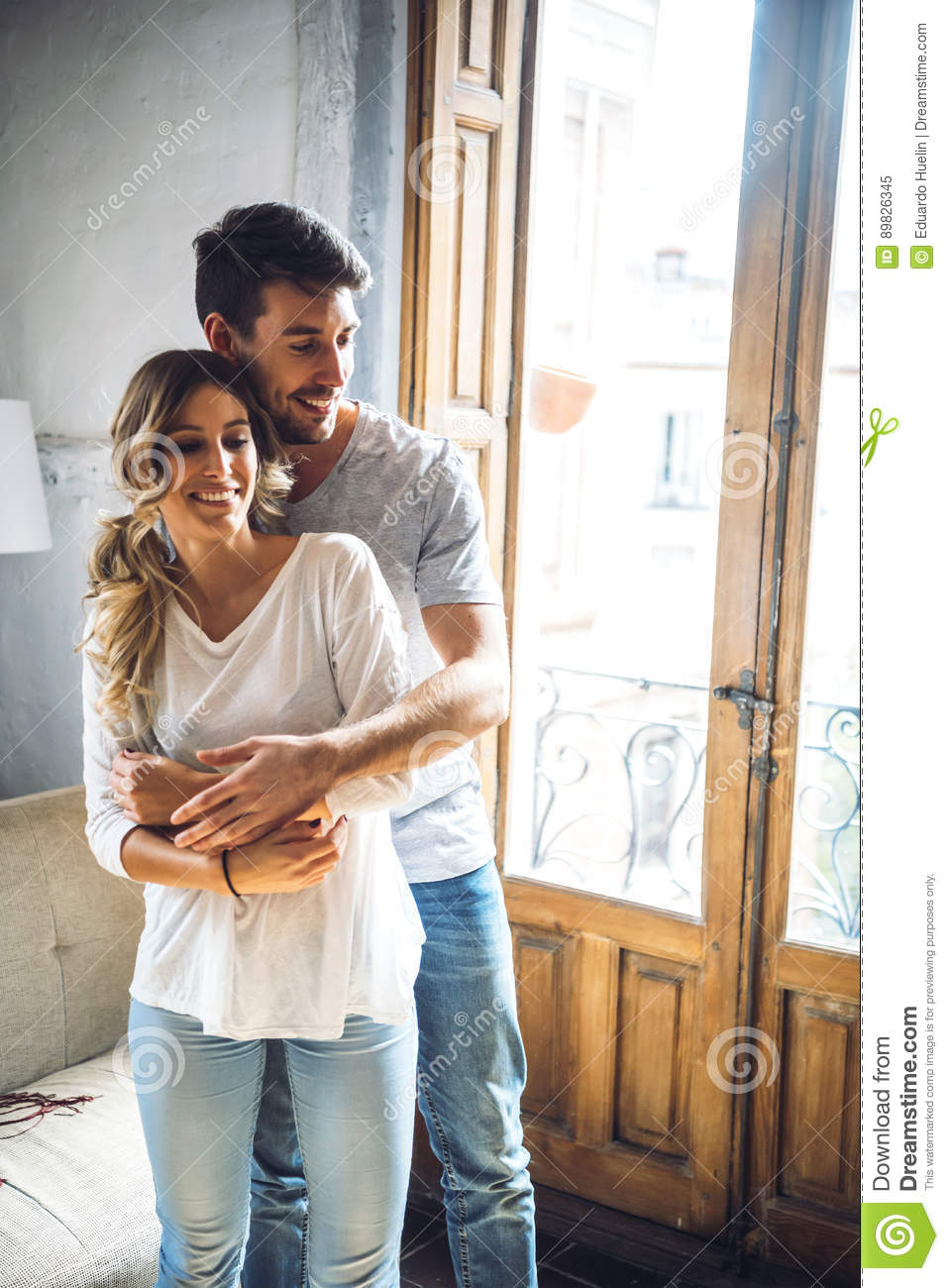 Beautiful Couple Embracing In Dance Stock Image - Image of apartment ...