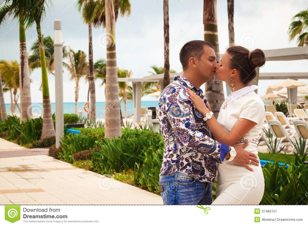 Beautiful couple enjoying vacations royalty free stock for Tropical vacations for couples