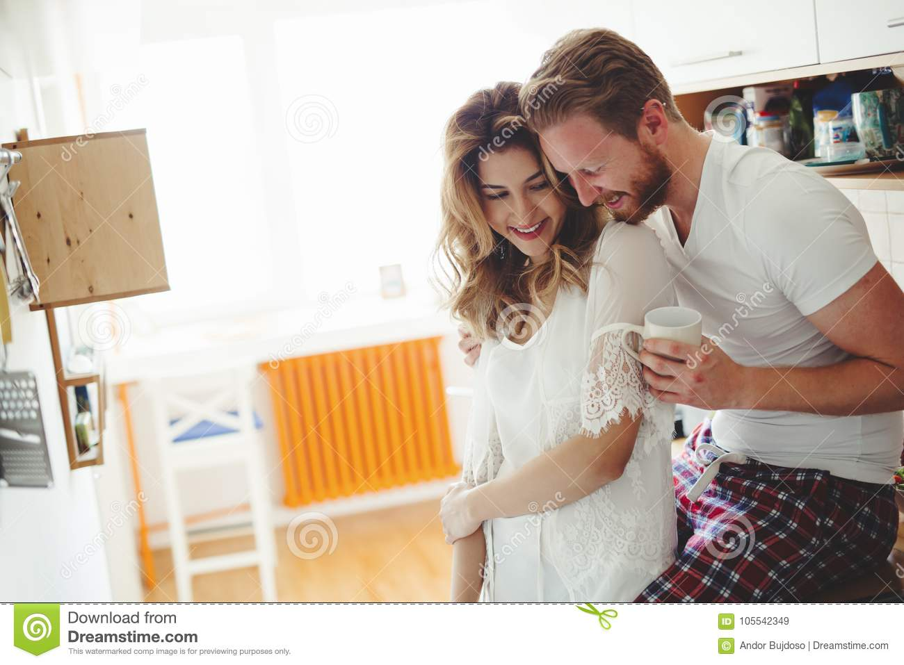 Beautiful Couple Having Fun Being Romantic In The Morning Stock ...