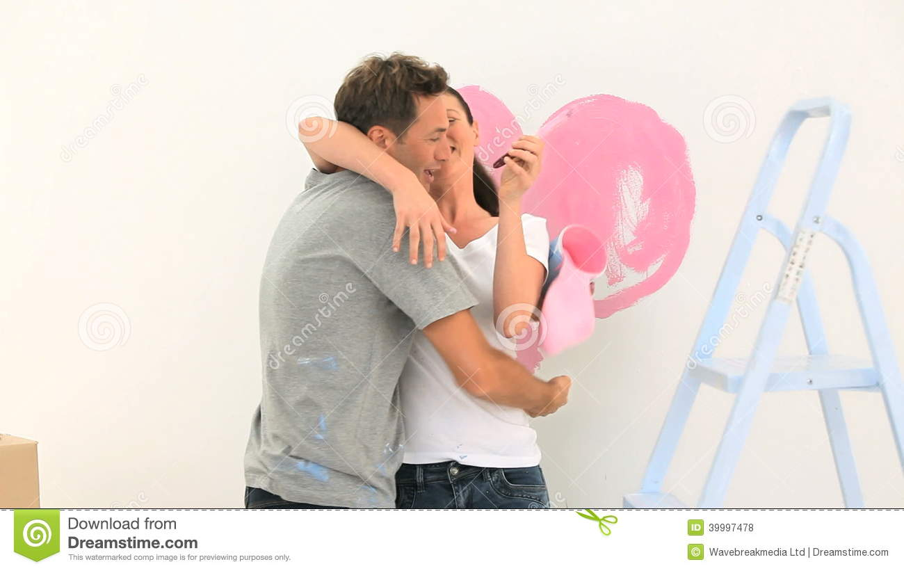 Beautiful Couple Painting Together Stock Footage
