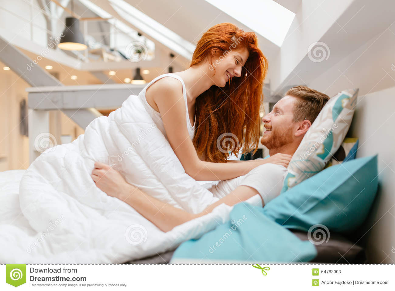 Royalty Free Stock Photo  Download Beautiful Couple Romance In Bed. Beautiful Couple Romance In Bed Stock Photo   Image  64783003