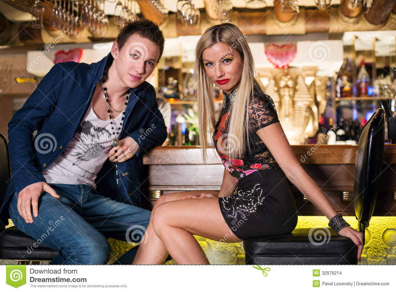 Beautiful Couple Sitting At The Bar Stock Images Image