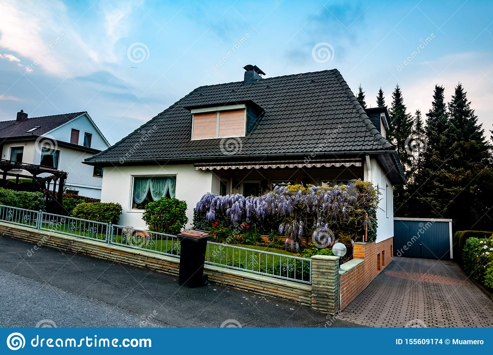 The Beautiful Courtyard In Front Of Small House Stock Photo Image Of Clean Fence 155609174