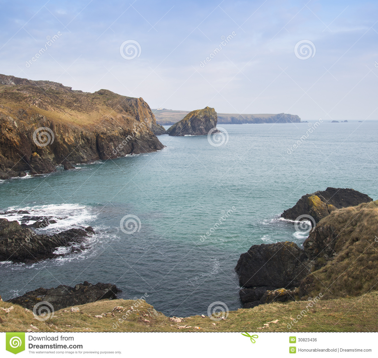 Beautiful Sunny Day At Tropical Beach Royalty Free Stock: Beautiful Cove On Bright Sunny Day Royalty Free Stock