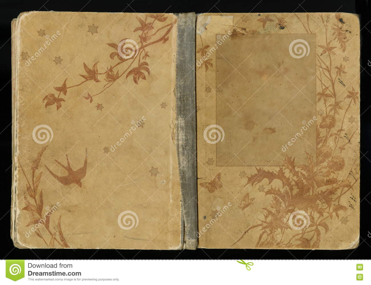 Beautiful Old Book Covers ~ Beautiful cover of a vintage book with floral frame an