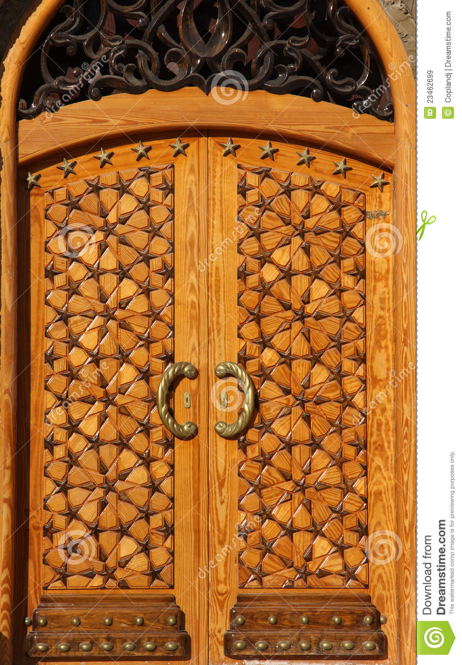 Beautiful Crafted Wooden Arabesque Door Stock Image