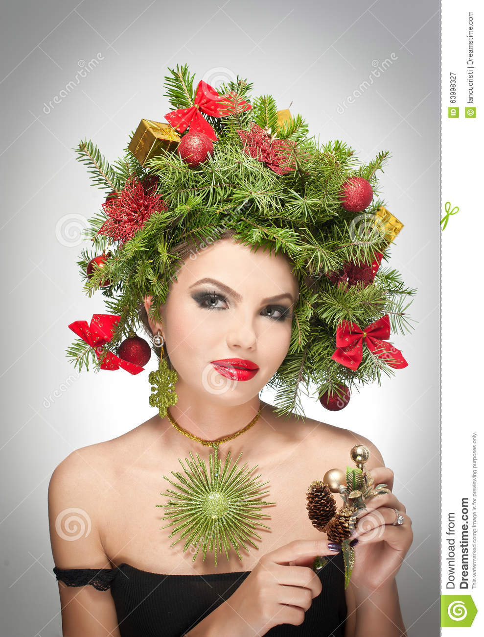 Beautiful Creative Xmas Makeup And Hair Style Indoor Shoot Beauty Fashion Model Girl Winter