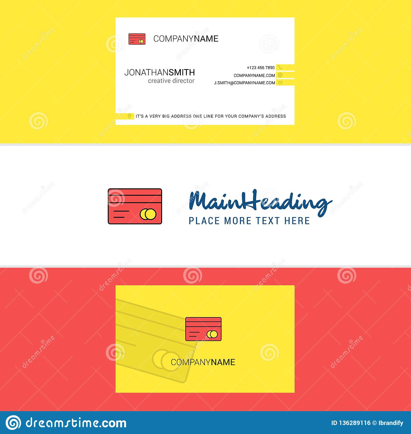 Beautiful Credit Card Logo And Business Card. Vertical Design