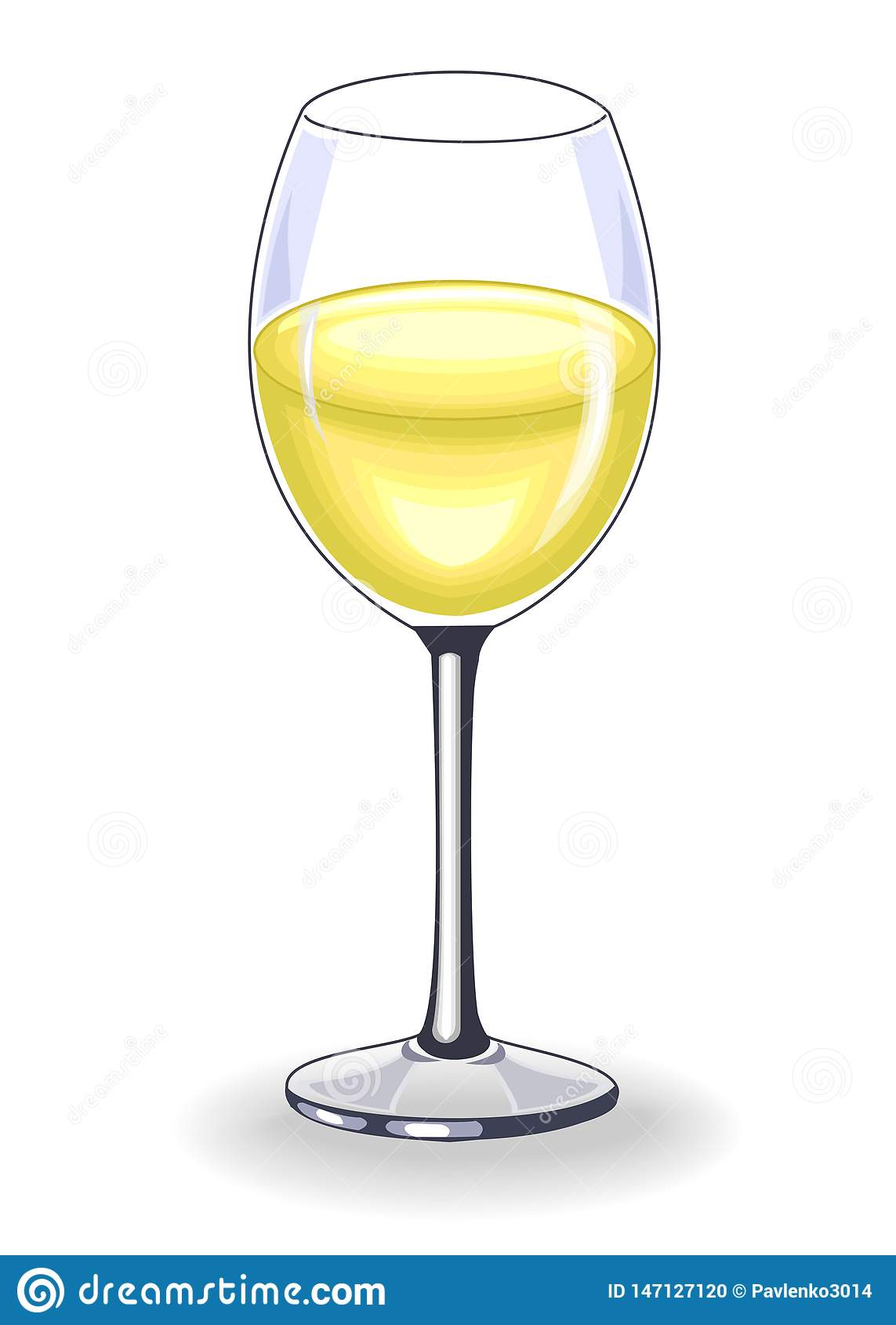 Beautiful crystal with delicious white wine. Decoration of the festive table. Vector illustration