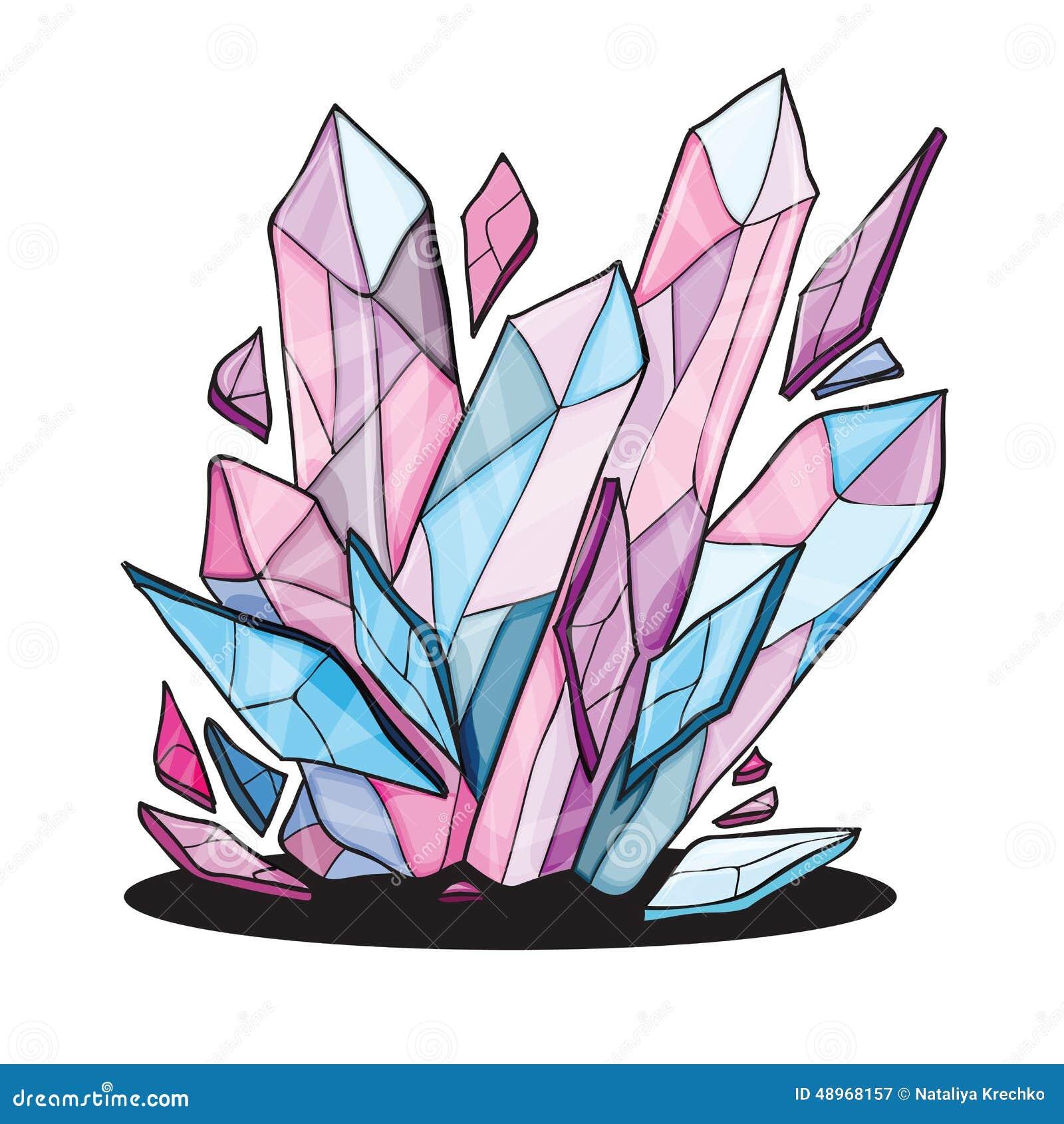 Line Art Illustrator : Beautiful crystal stones for design stock vector image