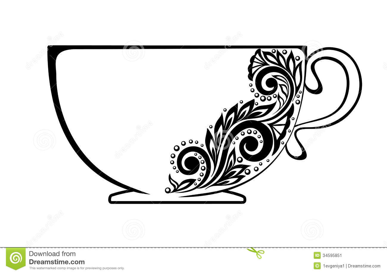Beautiful Cup, Decorated With Black And White Flor Stock ...