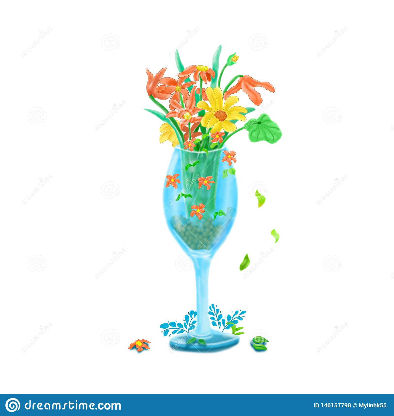 Beautiful flowers inside the glass painted on a white background