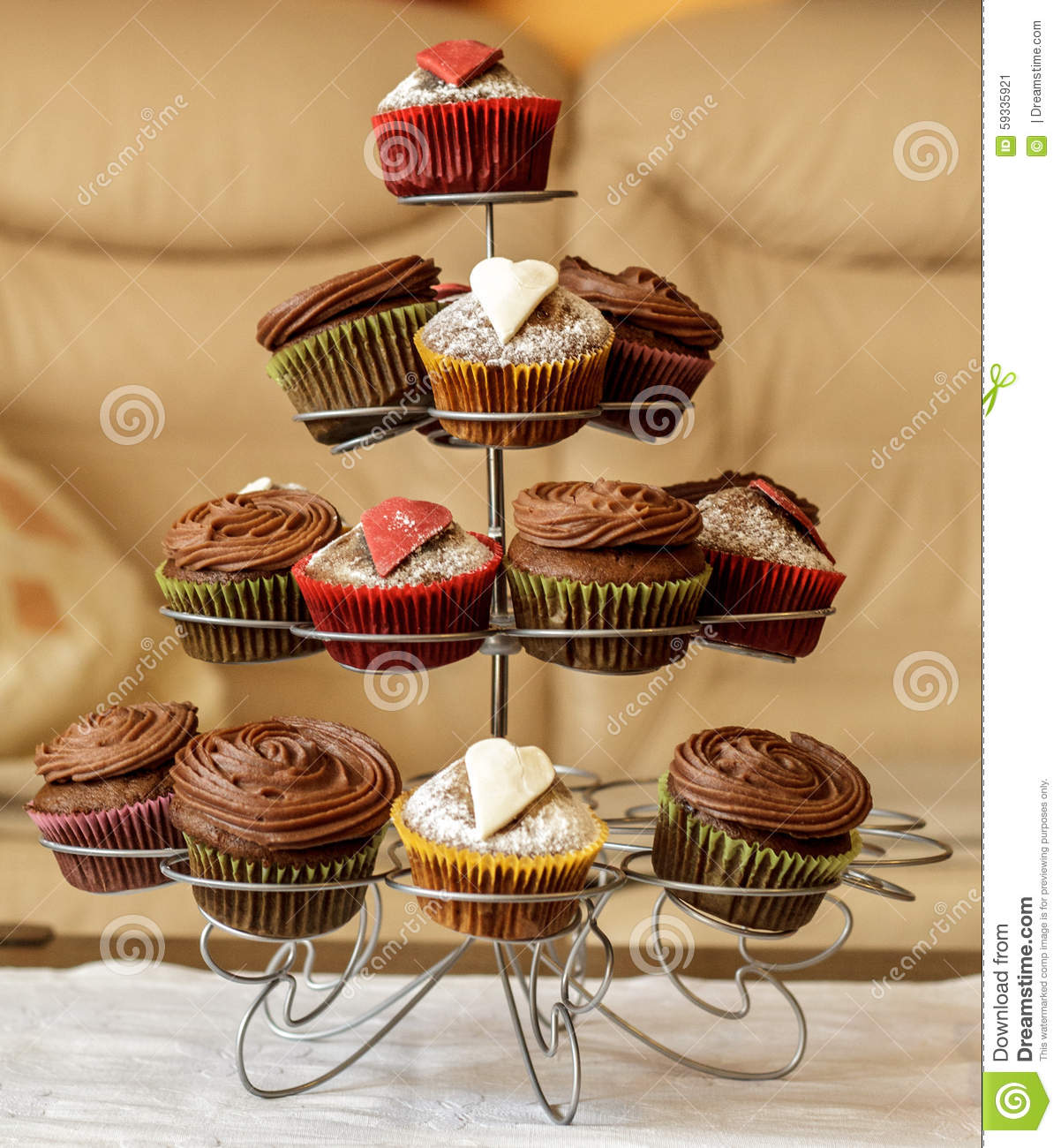 Beautiful cupcakes on a stand stock photo image 59335921 for Cupcake stand plans