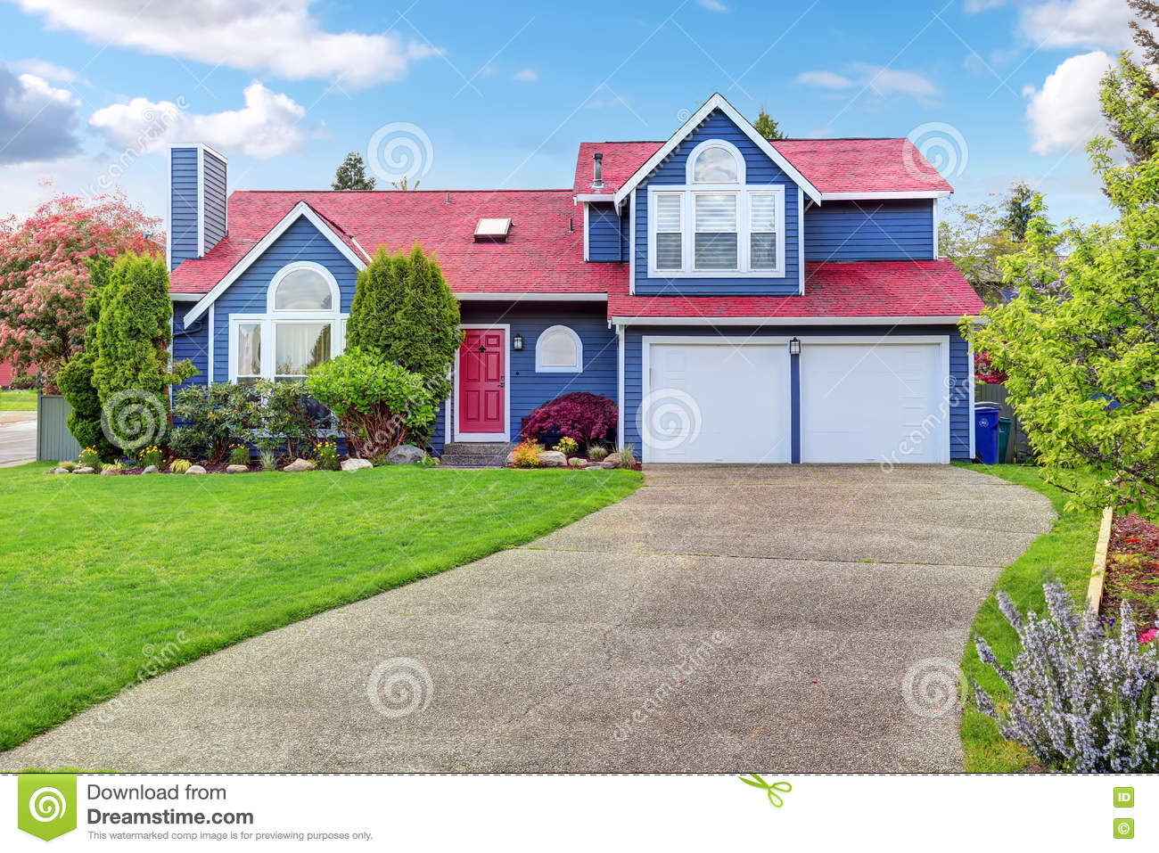 Beautiful Curb Appeal With Blue Exterior Paint And Red Roof ... on blue lighting designs, blue fireplace designs, blue basement designs, blue garden designs, blue interior designs, blue apartment designs, blue roof home designs, blue tile designs, gray interior home designs, blue bedroom designs, blue concrete designs,