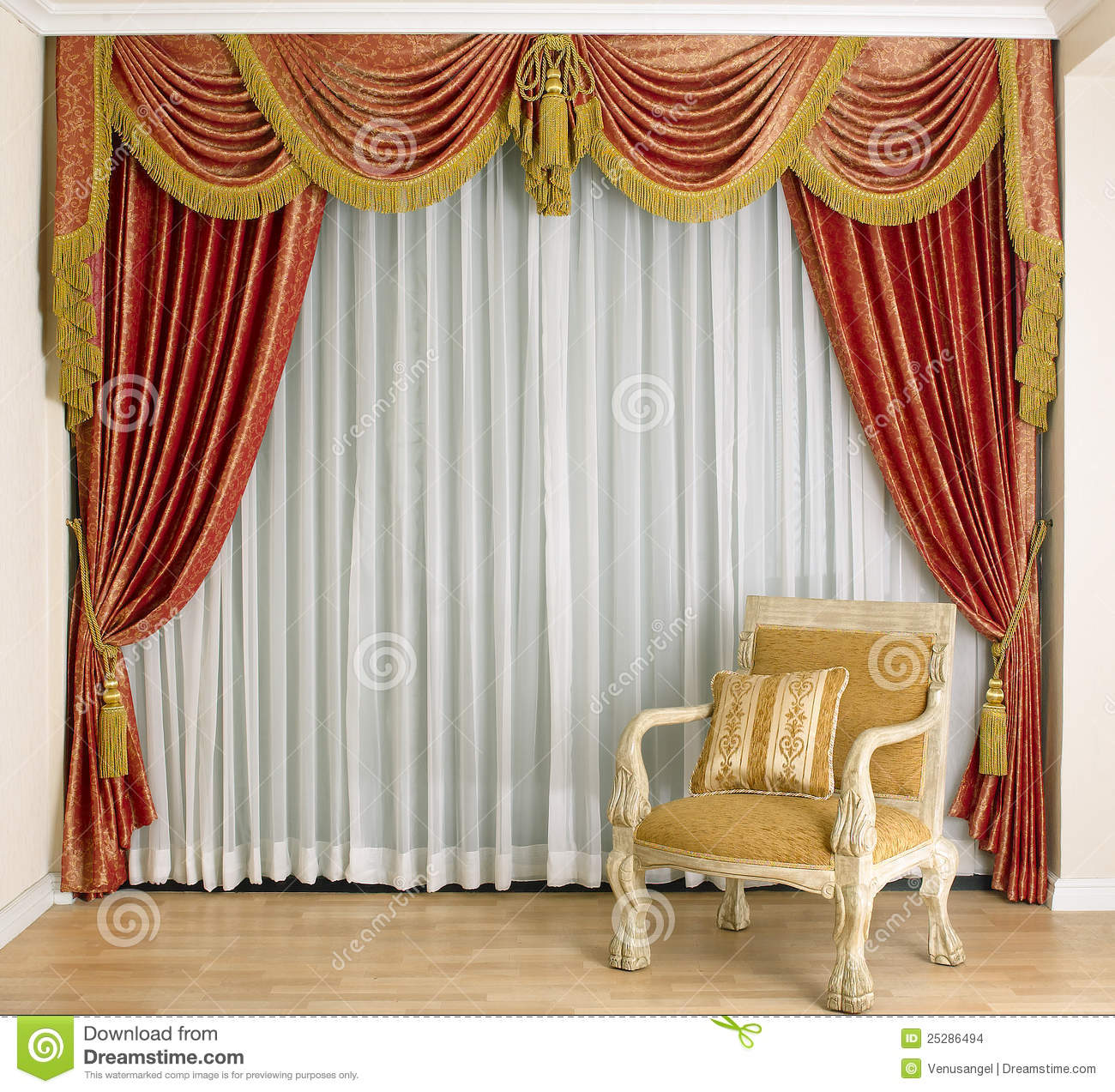 Beautiful Curtain In Living Room Stock Images - Image: 25286494