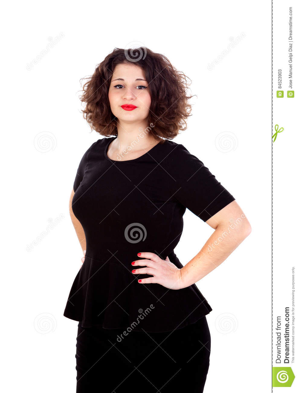 Beautiful Curvy Girl With Black Dress And Red Lips Stock Image
