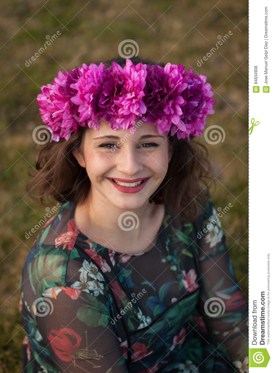 Beautiful Curvy Girl With A Flower Crown Stock Photo Image Of