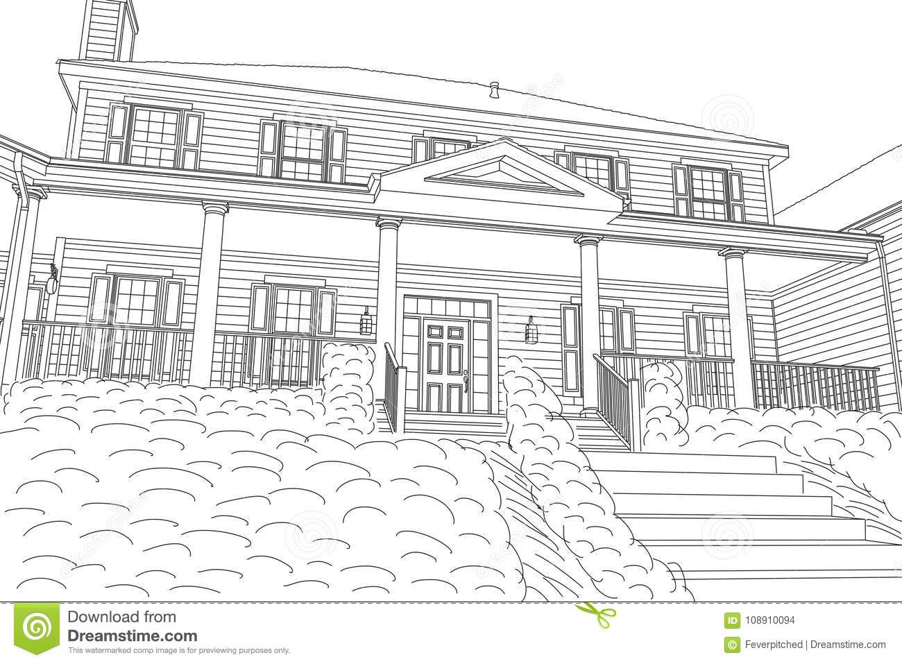 Beautiful Custom House Drawing on a White Background.