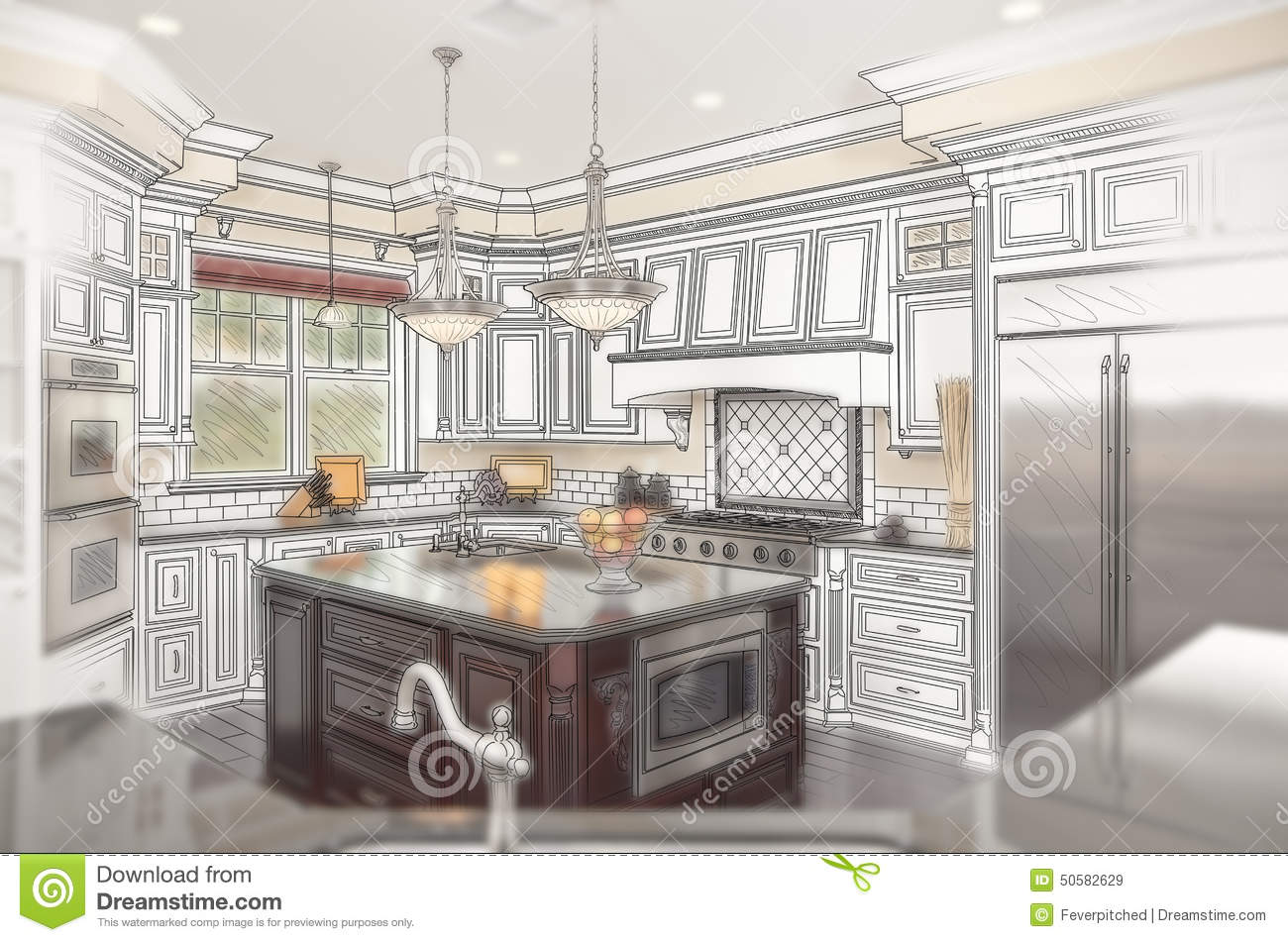 Beautiful Custom Kitchen Design Drawing with Ghosted Photo Behind