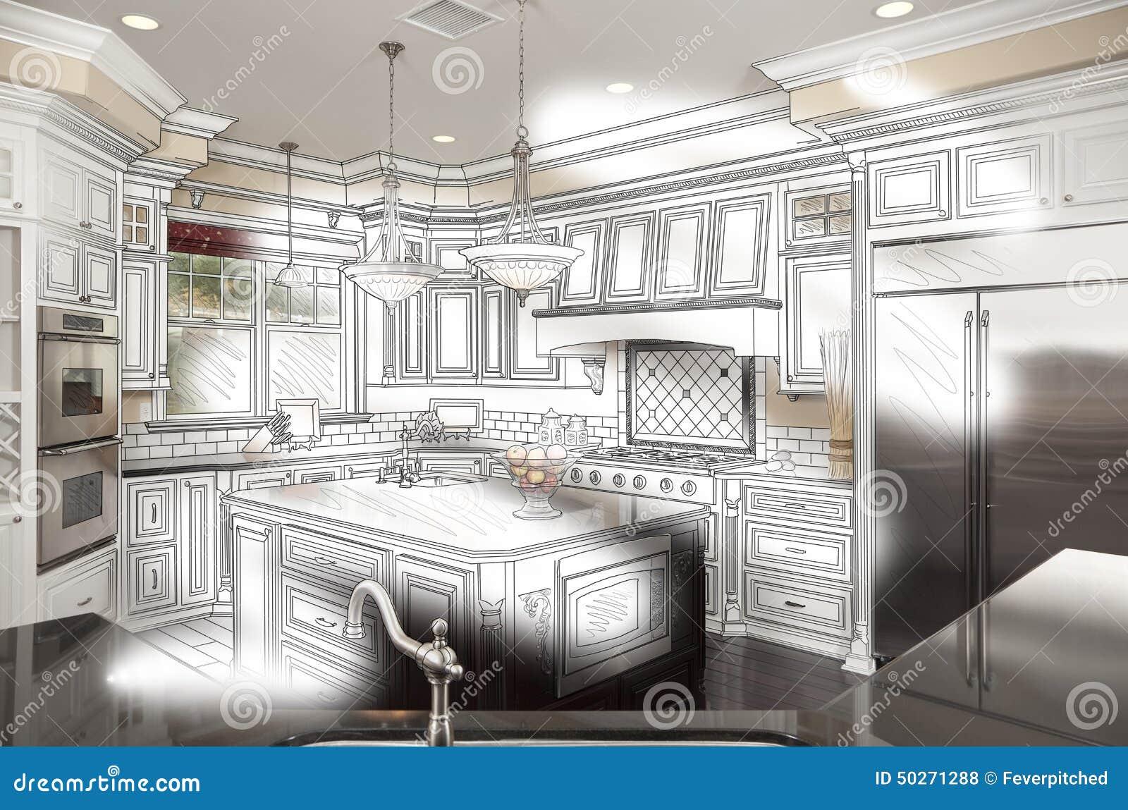 Beautiful Custom Kitchen Design Drawing and Photo Combination