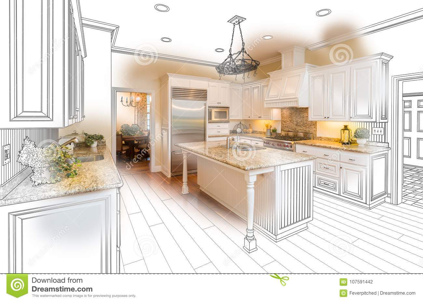 Beautiful Custom Kitchen Drawing and Photo Combination on White.