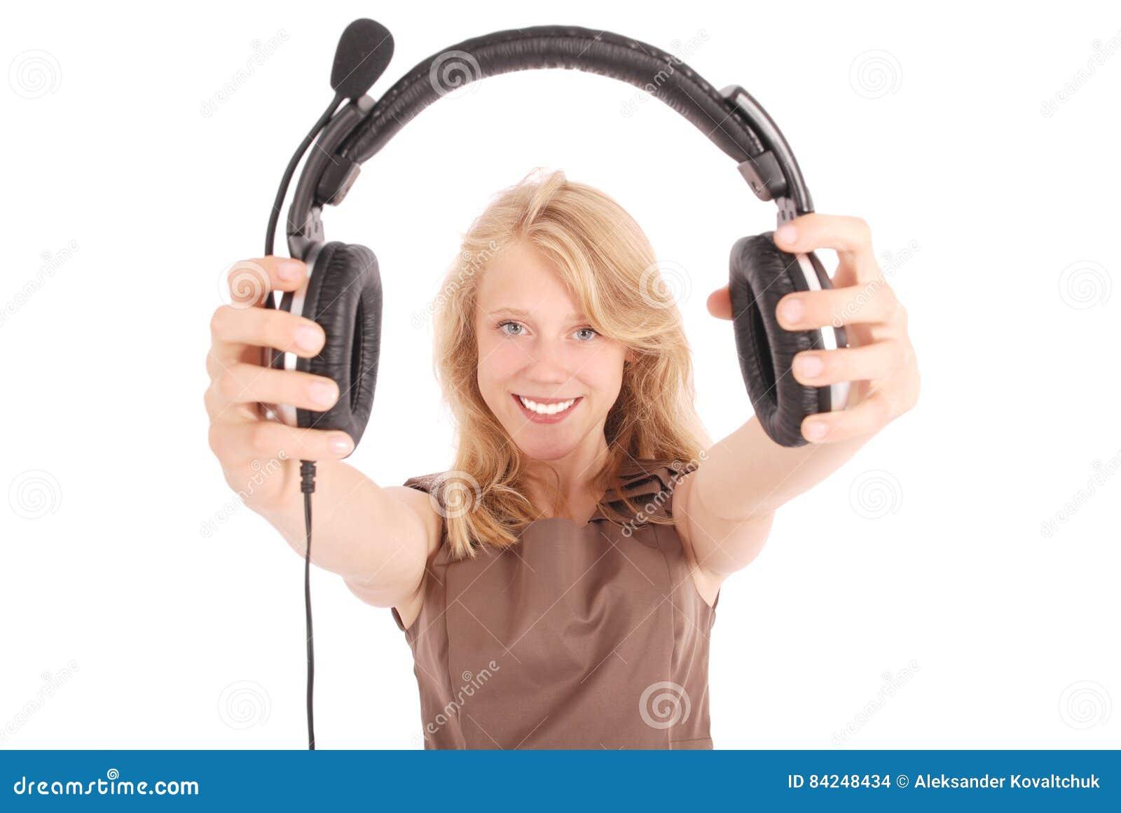 Beautiful customer service operator student girl with headset