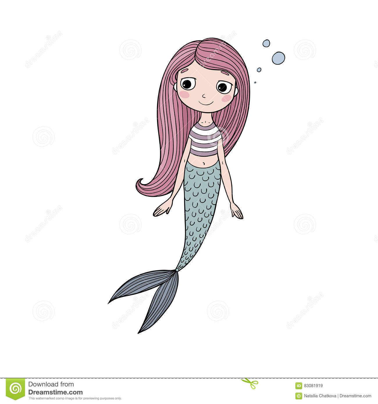 Beautiful Cute Cartoon Mermaid With Long Hair Siren Sea Theme Vector Illustration