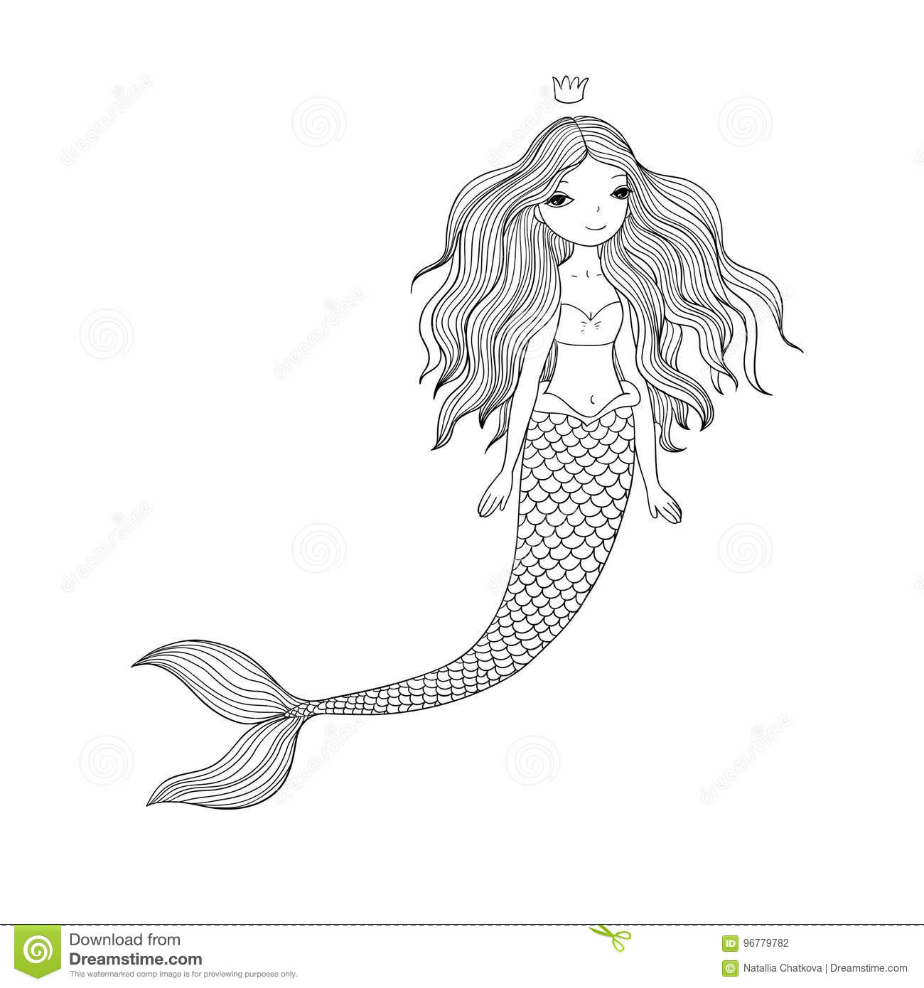 Beautiful Cute Cartoon Mermaid With Long Hair Siren Sea Theme Stock Vector Illustration Of Girl Character 96779782