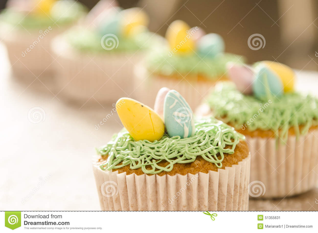 Beautiful Cute Easter Cupcakes With Easter Decorations Stock