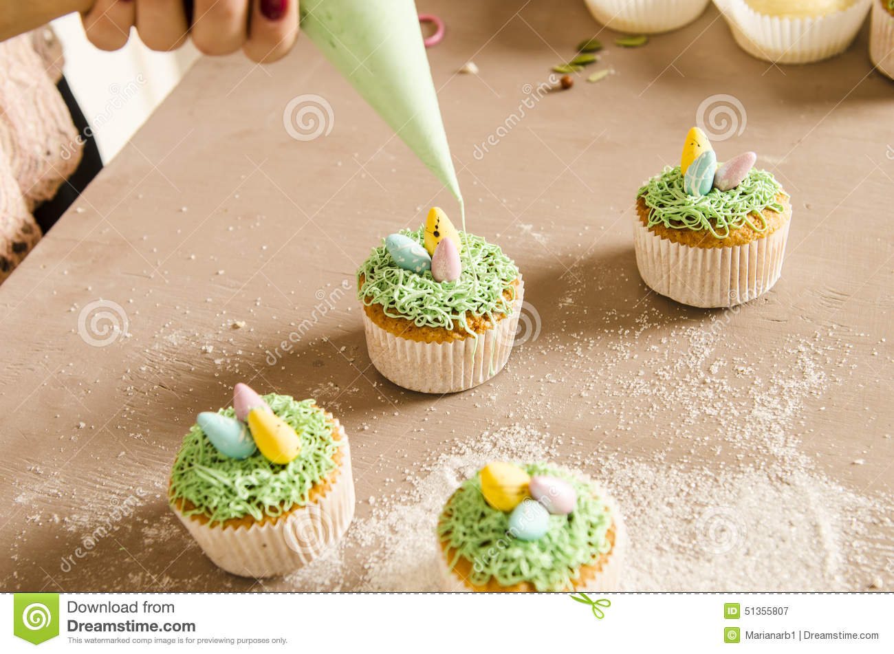 Beautiful Cute Easter Cupcakes With Easter Decorations Stock Photo ...