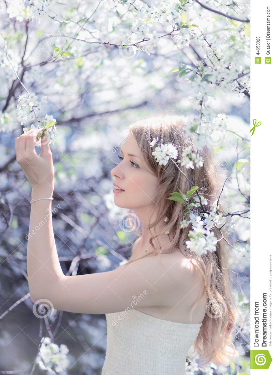 beautiful cute girl. spring day stock photo - image of garden, happy