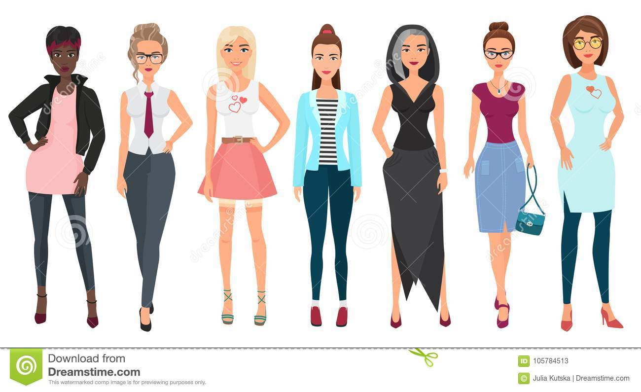 Beautiful cute young women in fashion clothes. Detailed girls female characters. Flat style vector illustration.