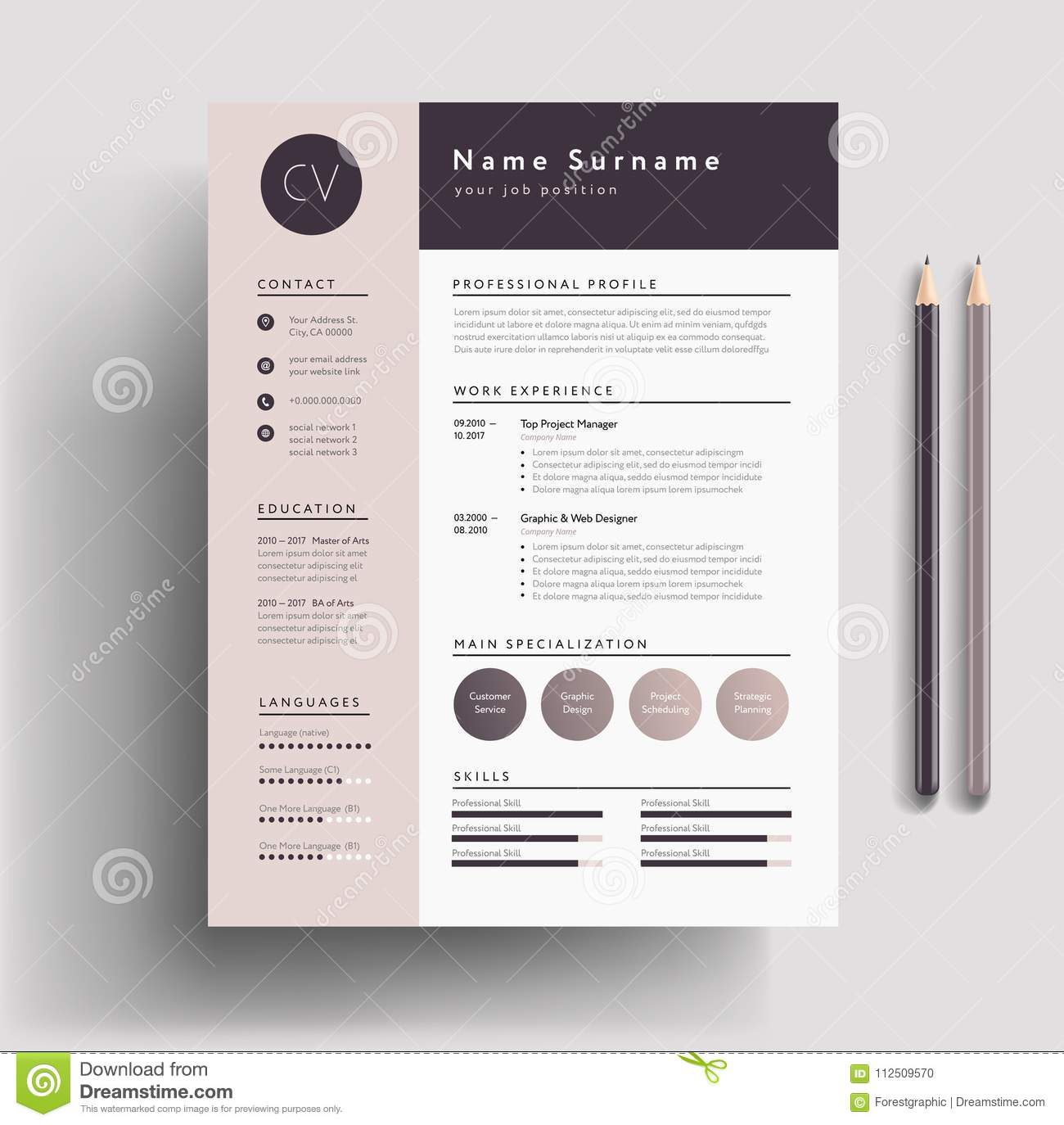 beautiful cv    resume template - elegant stylish design - dusty stock vector