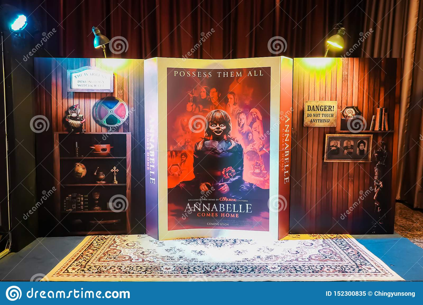 Beautiful 3D Standee from an American Horror film `Annabelle Comes Home` displays at the cinema to promote the movie