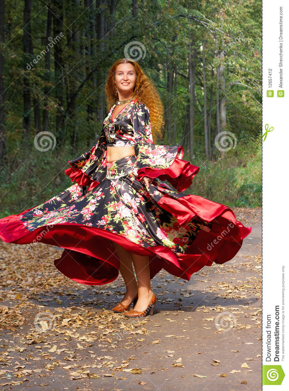 A Beautiful Dancing Ginger-haired Girl Stock Photo - Image ...