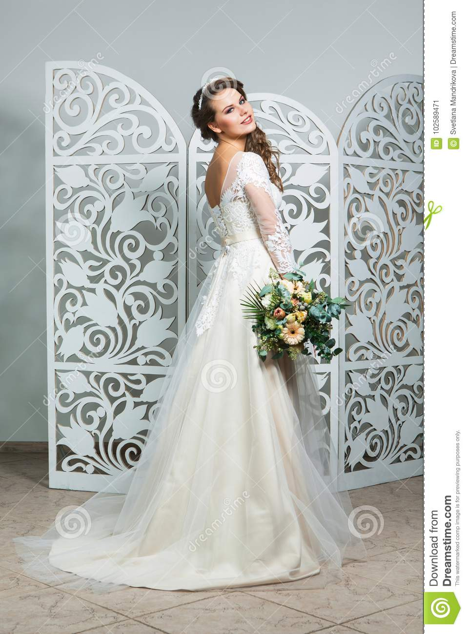 Beautiful Girl In Wedding Gown Stock Image Image Of Cute Hair