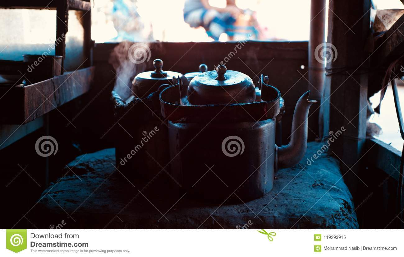 Download Beautiful Dark Metallic Tea Kettles Of A Tea Shop In Bangladesh Stock Image - Image of backdrop, beautiful: 119293915