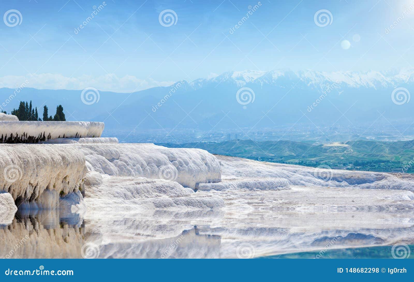 Beautiful day in amazing white Pamukkale,Turkey