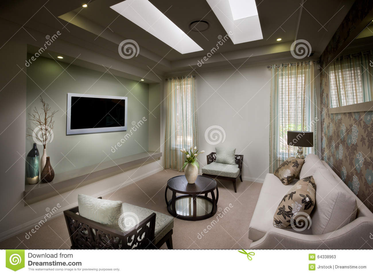 Living Room Detail Tv On Wall Stock Image Image Of Residential  # Commode Tv But