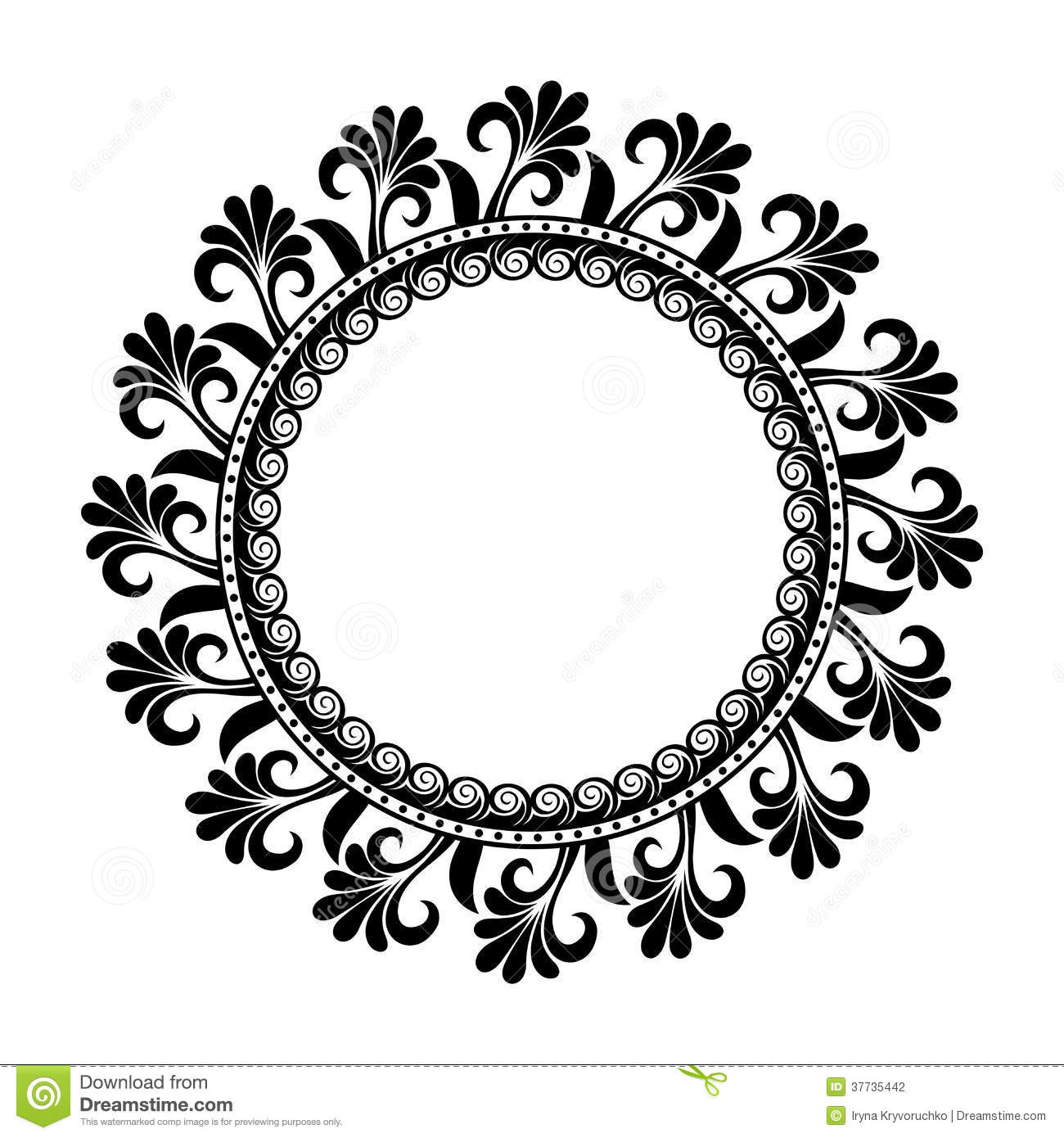 Black Flower Round Up: Beautiful Deco Floral Circle (Vector) Stock Photography
