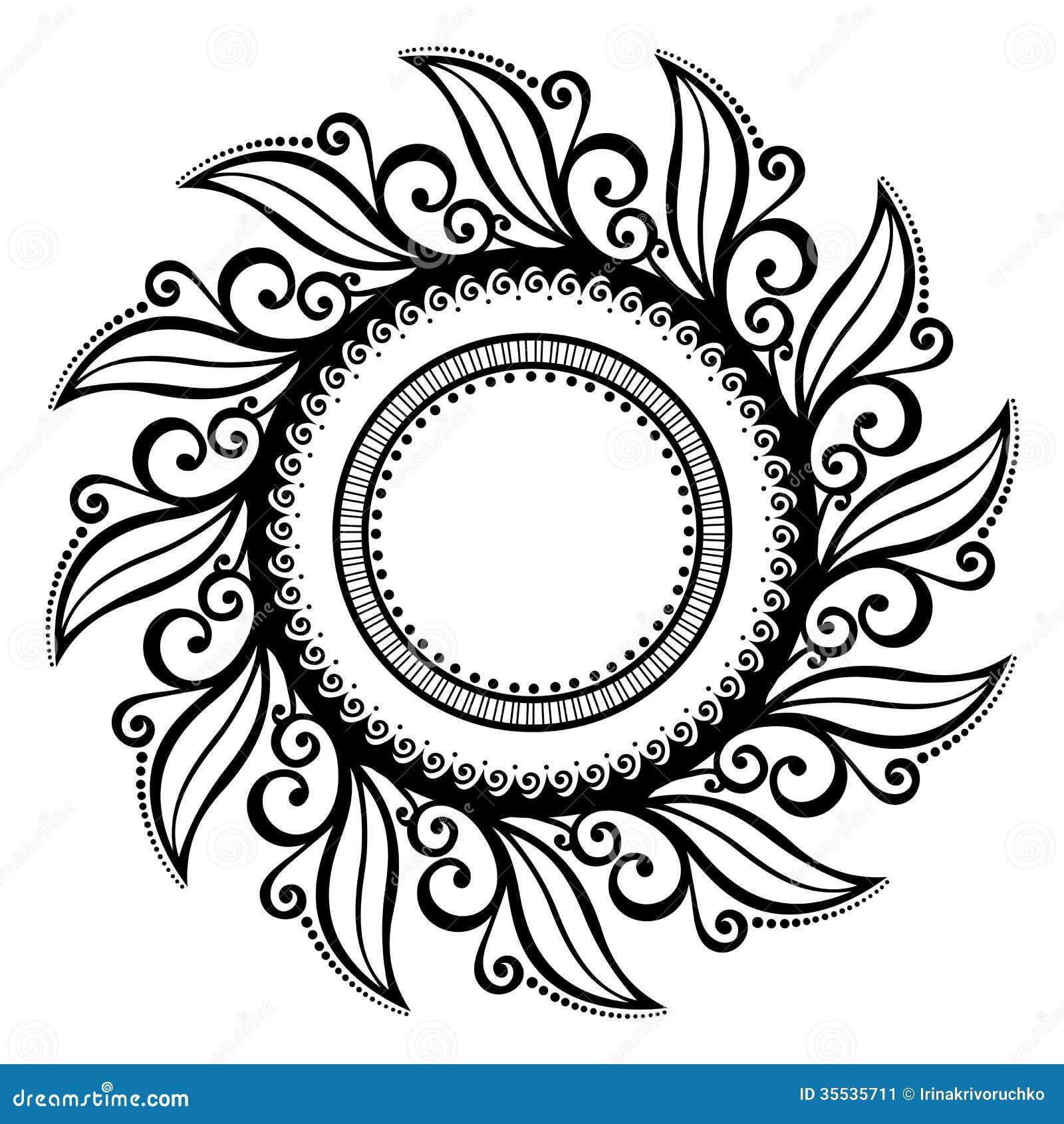 Beautiful Deco Floral Circle Vector Stock Vector