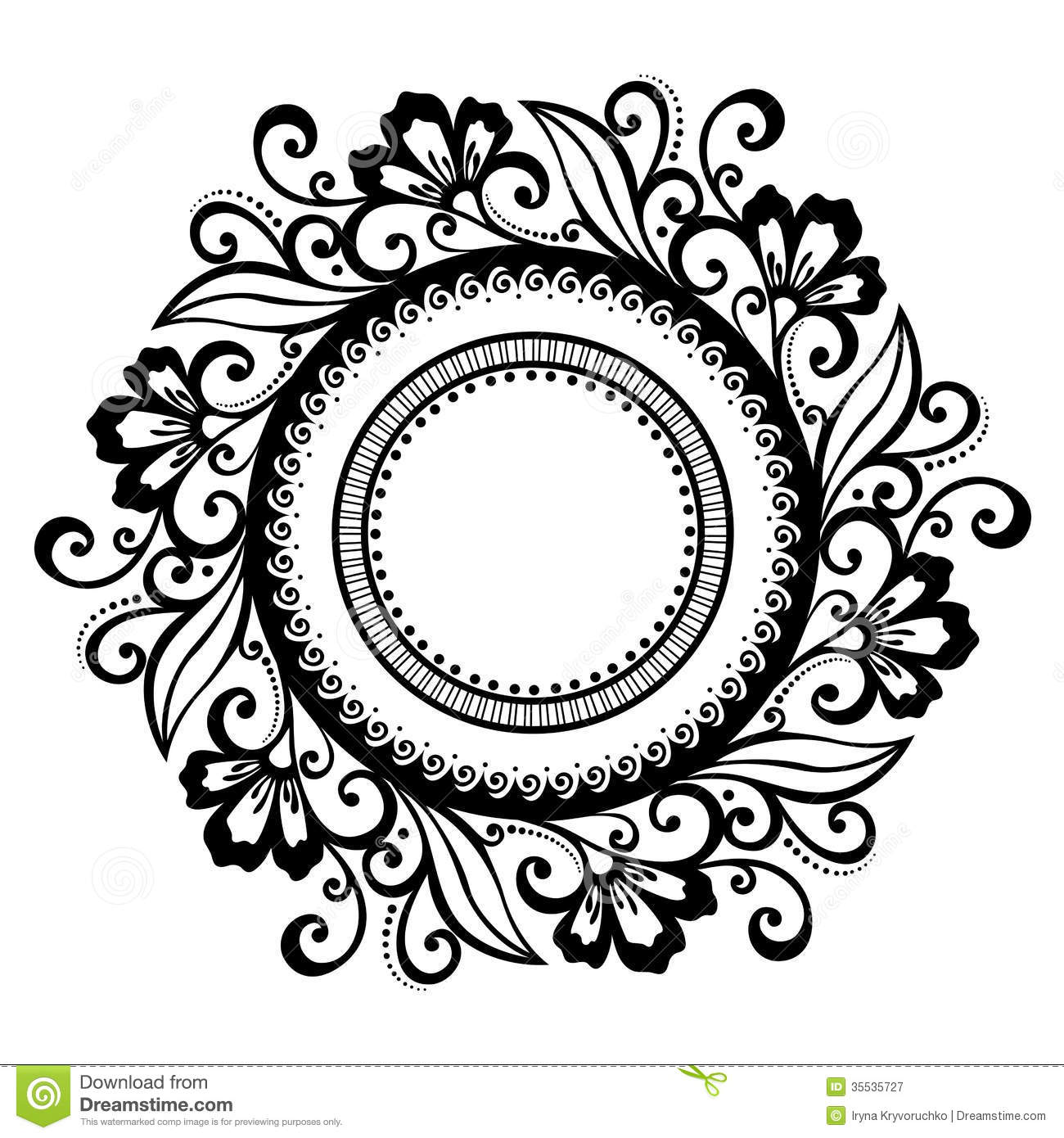 Line Art Flower Vector Free Download : Beautiful deco floral circle vector stock
