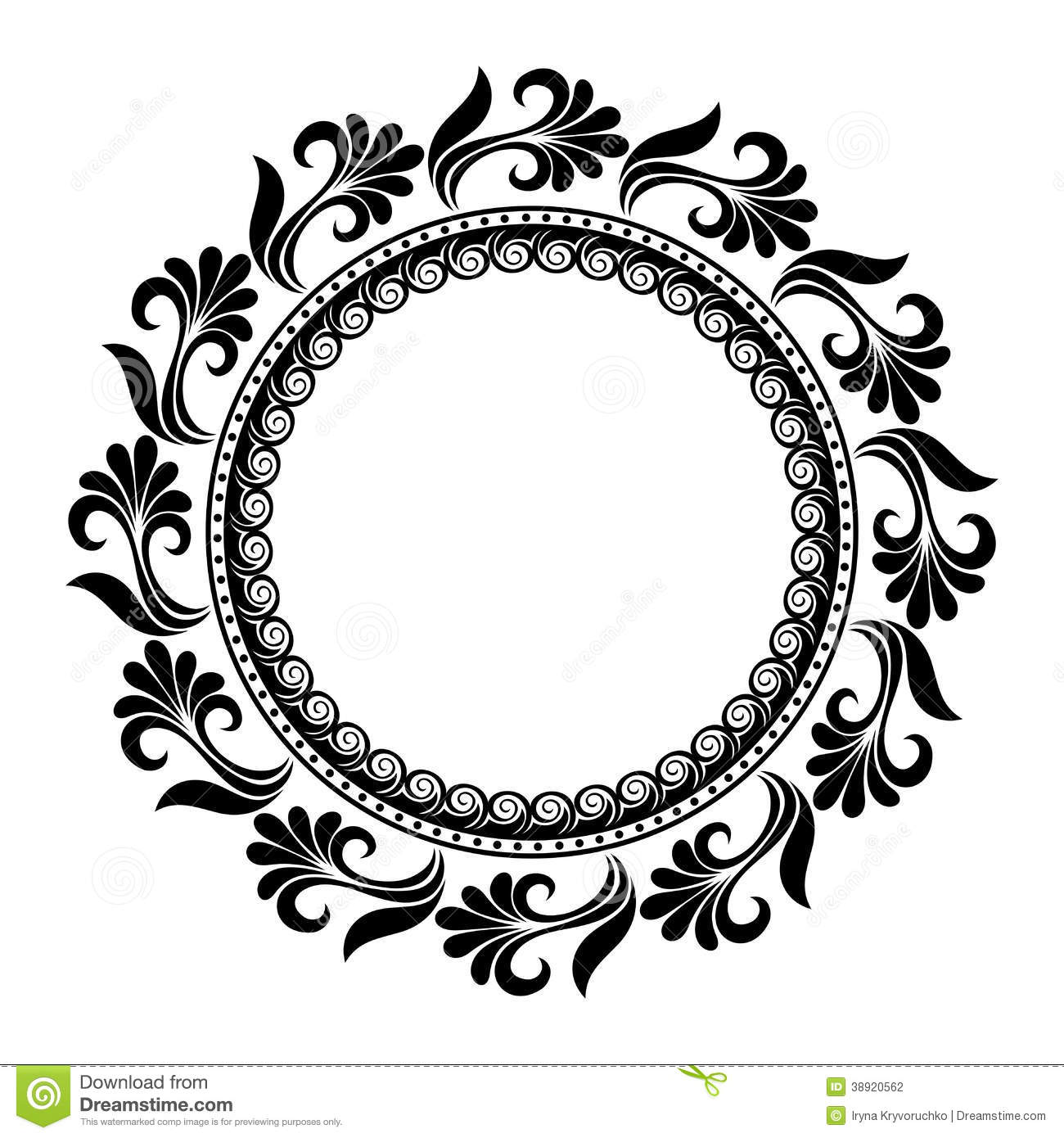 Beautiful Deco Floral Circle Vector Stock Vector Illustration