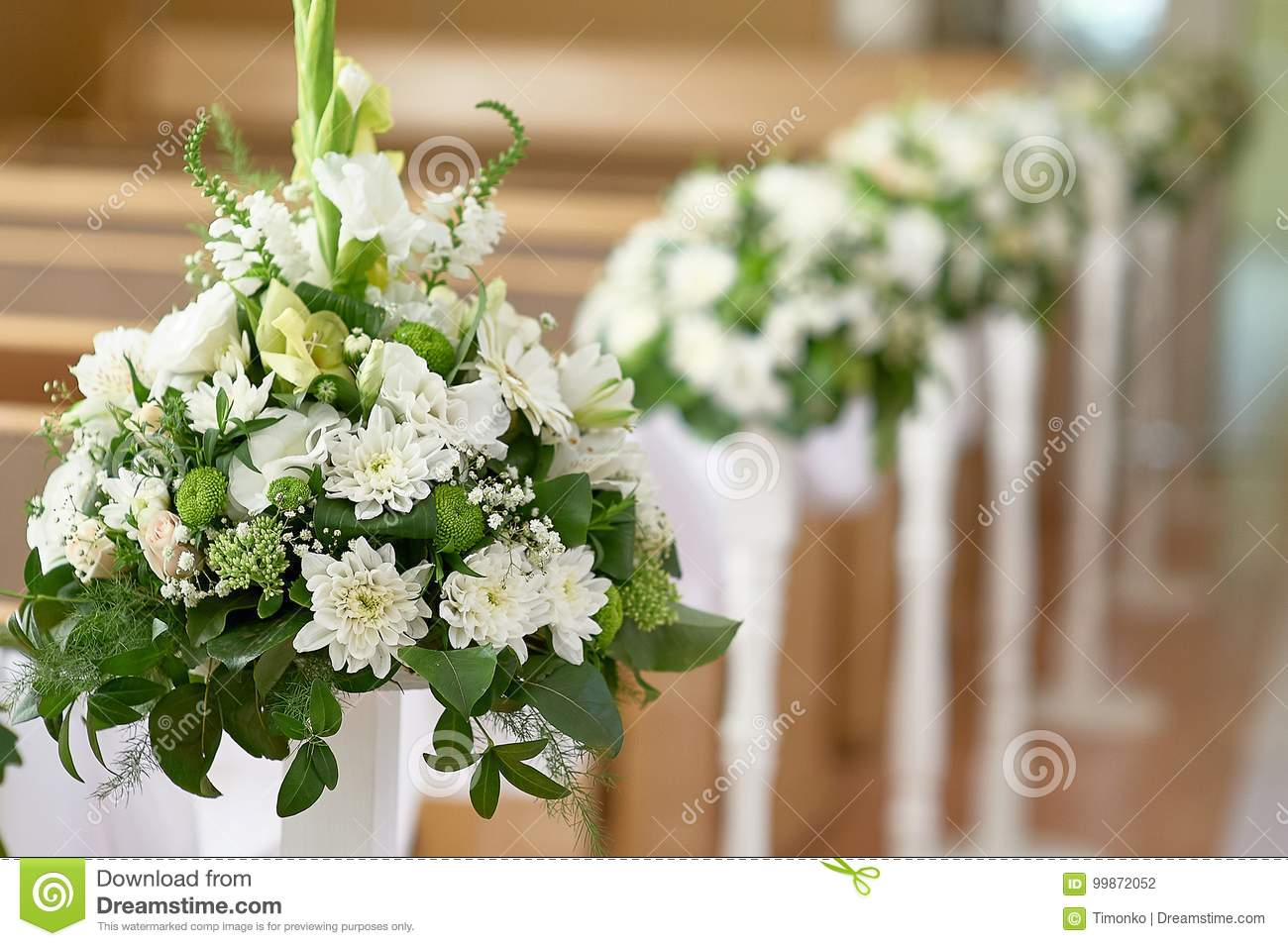 Beautiful Decor Of White Flowers In Church For A Wedding Ceremony ...
