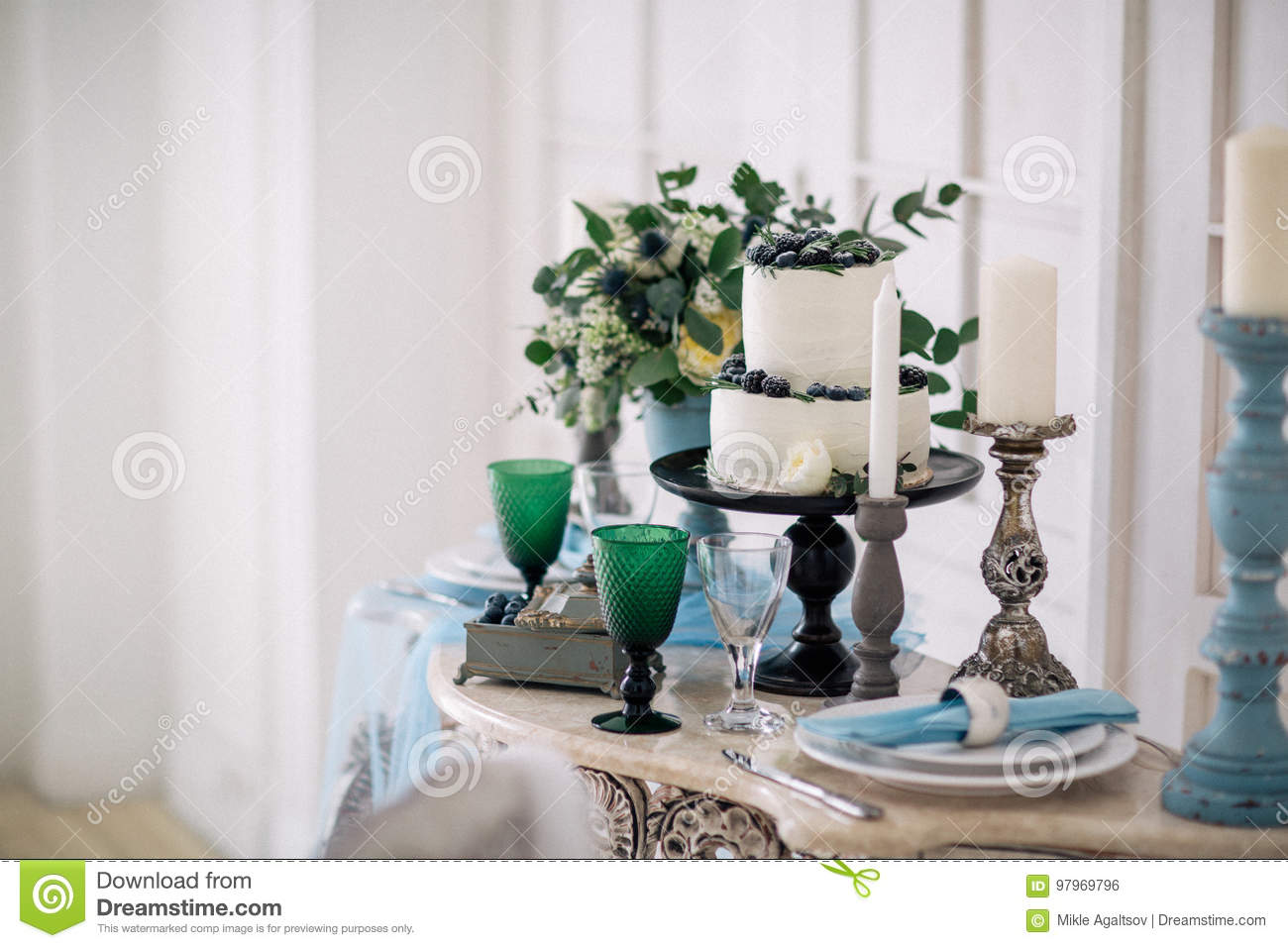 Beautiful Decorate Table With Candles Vase With Flowers And