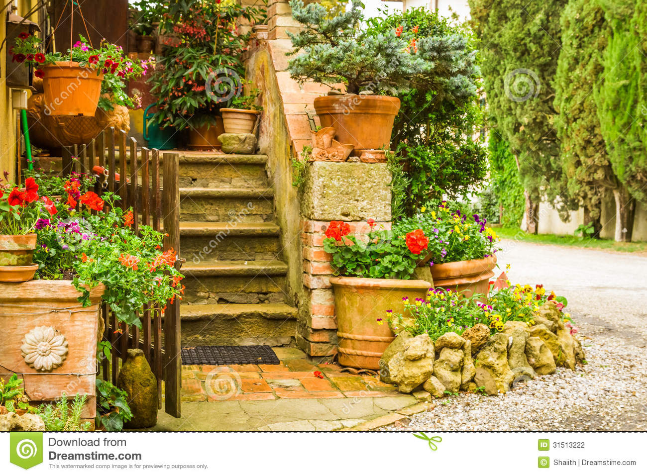beautiful decorated entrance to a house in the countryside