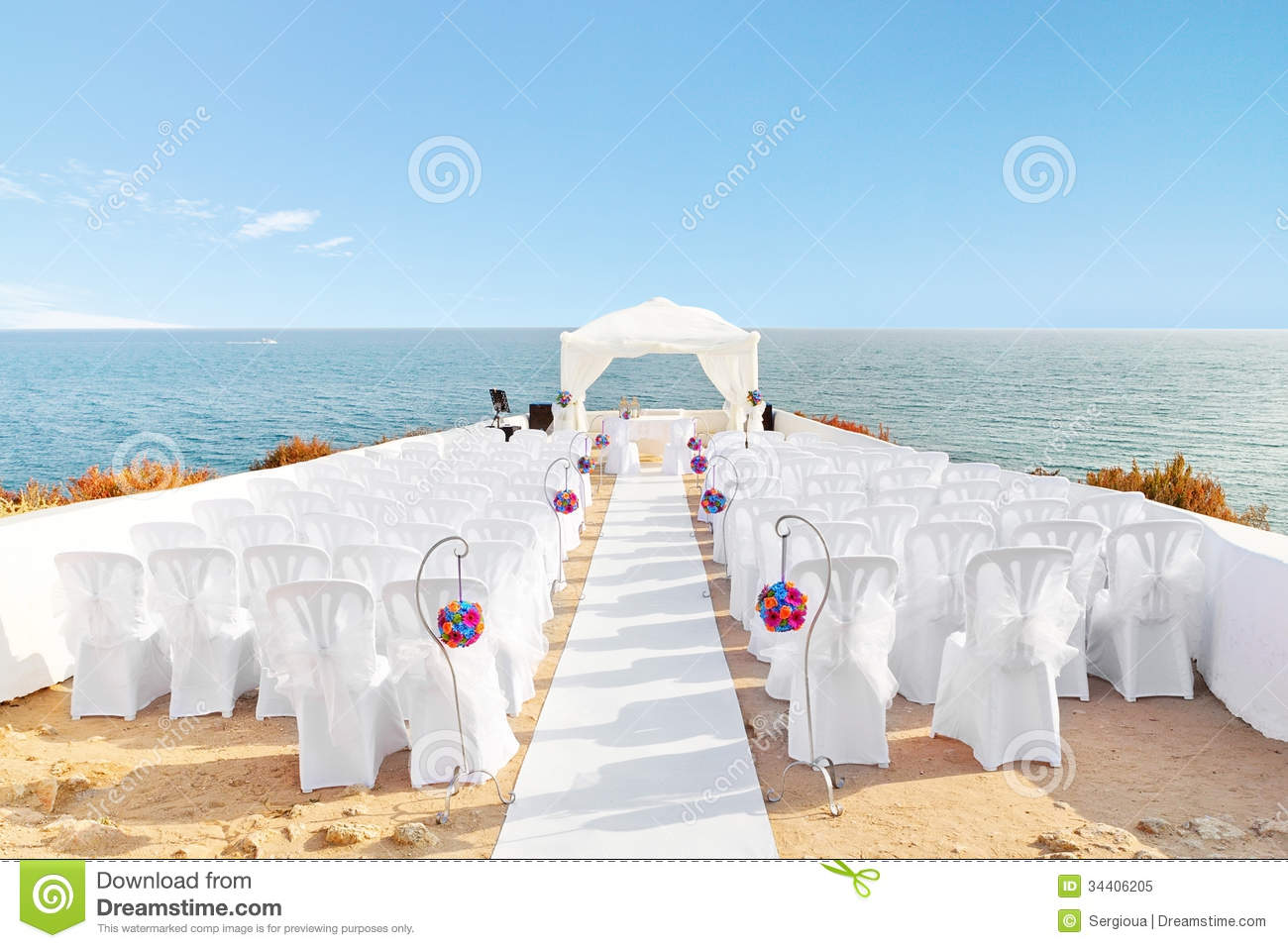 Beautiful Decorations For The Wedding Ceremony. Stock