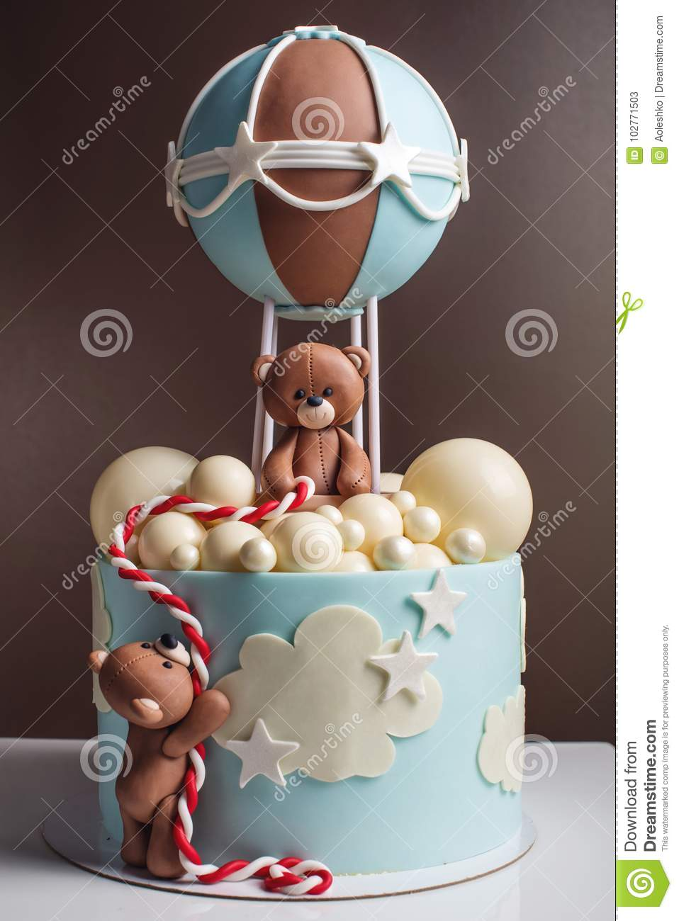 Beautiful Decorative Cake For A Child Bears Fly In A Balloon