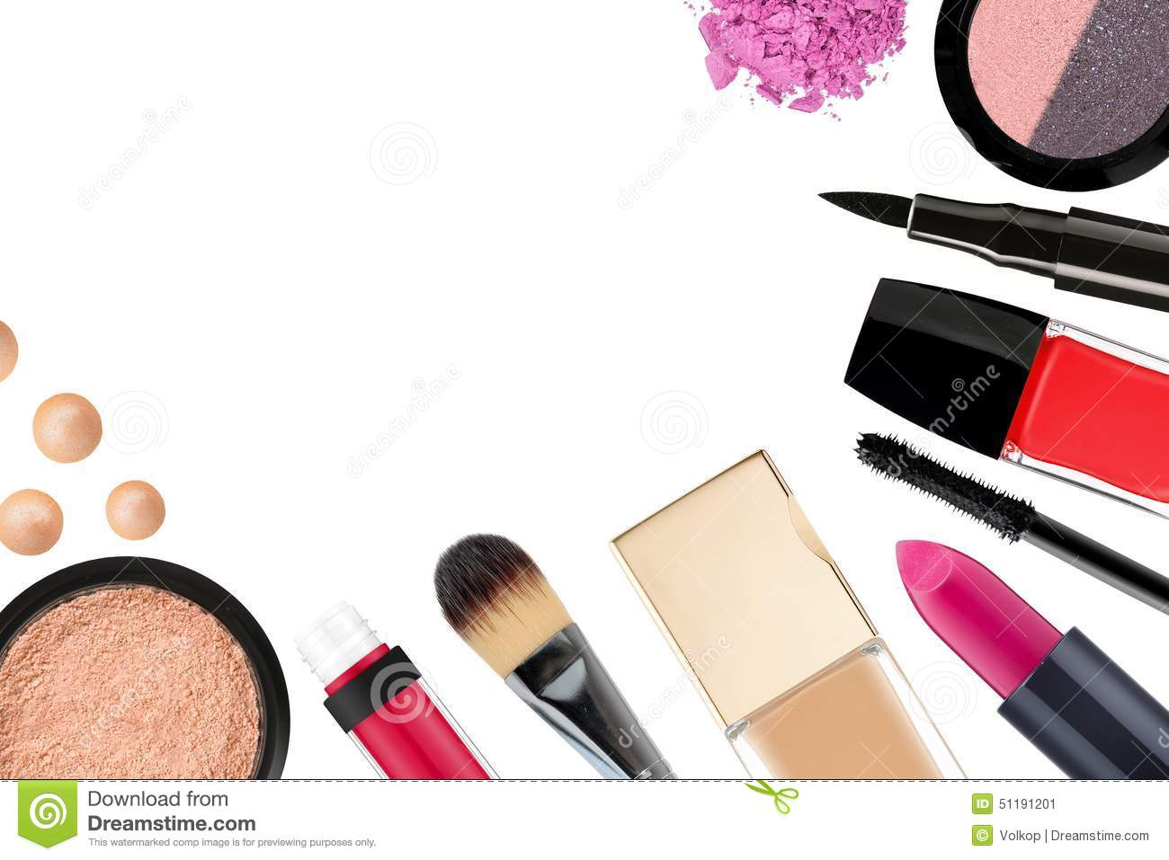 Beautiful decorative cosmetics and makeup brushes for What is cosmetics made of