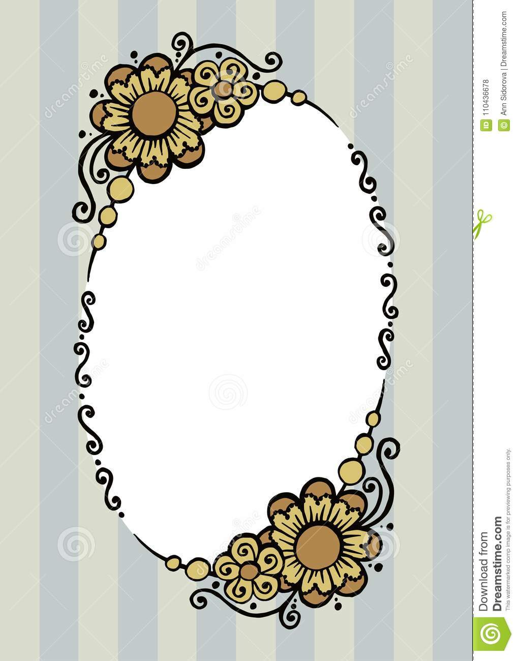 d59551d9681 Beautiful painted colored decorative vector oval frame with flowers and  curls on a striped background with space for your text